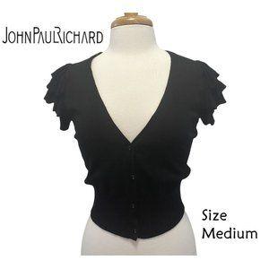 JohnPaulRichard Size Medium V-Neck Black Cardigan